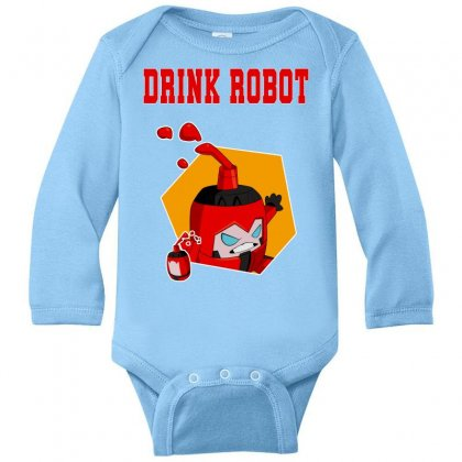 Drink Robot Long Sleeve Baby Bodysuit Designed By Butterfly99