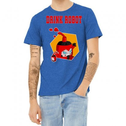 Drink Robot Heather T-shirt Designed By Butterfly99