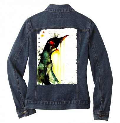 Emperor Penguin Art Ladies Denim Jacket Designed By Butterfly99