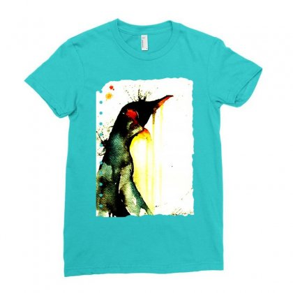 Emperor Penguin Art Ladies Fitted T-shirt Designed By Butterfly99