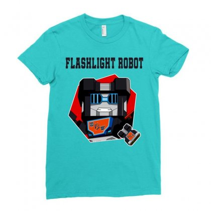 Flashlight Robot Ladies Fitted T-shirt Designed By Butterfly99