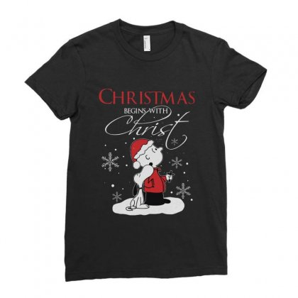 Snoopy And Charlie Brown Christmas Begins With Christ Ladies Fitted T-shirt Designed By Kakashop