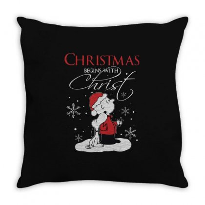 Snoopy And Charlie Brown Christmas Begins With Christ Throw Pillow Designed By Kakashop