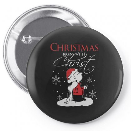 Snoopy And Charlie Brown Christmas Begins With Christ Pin-back Button Designed By Kakashop