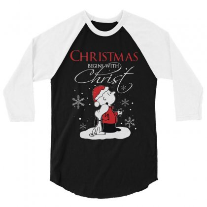 Snoopy And Charlie Brown Christmas Begins With Christ 3/4 Sleeve Shirt Designed By Kakashop