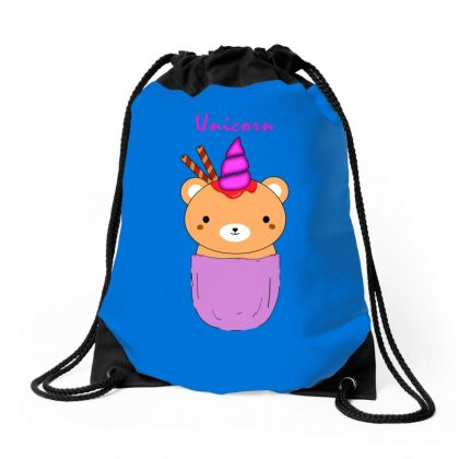 Pocket Unicorn Bear Drawstring Bags Designed By Butterfly99