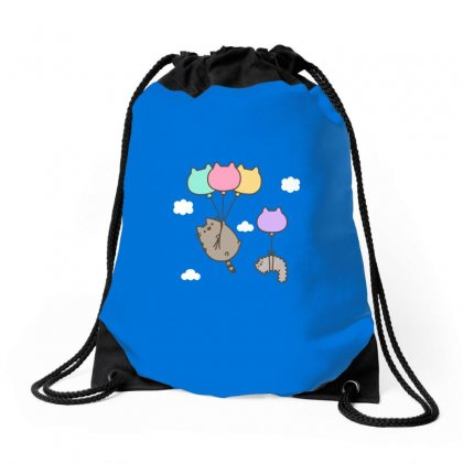 Raninbow Cat Ballon Drawstring Bags Designed By Butterfly99