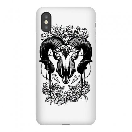 Flowery Ram Skull Iphonex Case Designed By Balqis Tees