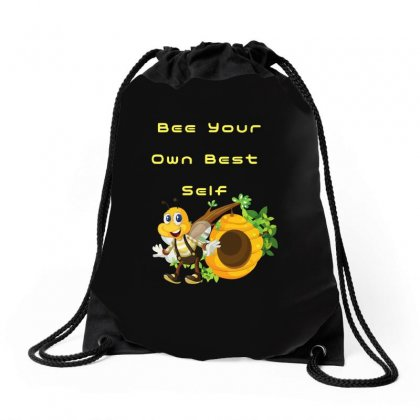 Bee Your Own Best Self Drawstring Bags Designed By Arsyad