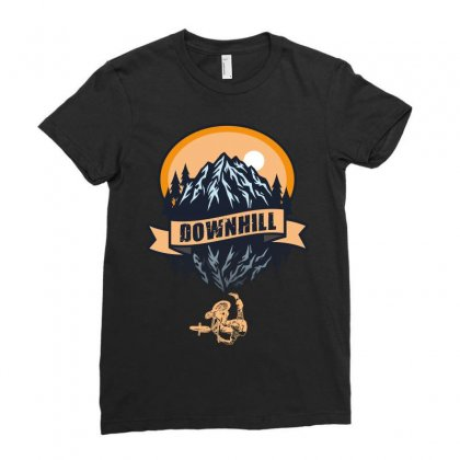 Downhill Ladies Fitted T-shirt Designed By Wizarts