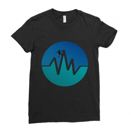 Heartbeats Hiking Ladies Fitted T-shirt Designed By Wizarts