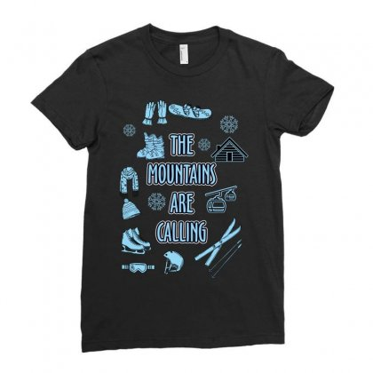 The Mountains Are Calling Ladies Fitted T-shirt Designed By Wizarts