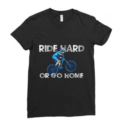 Ride Hard Or Go Home Bike Ladies Fitted T-shirt Designed By Wizarts