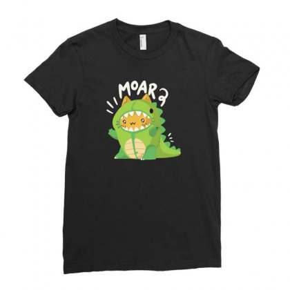 Cat In A Dinosaur Suit Ladies Fitted T-shirt Designed By Arsyad