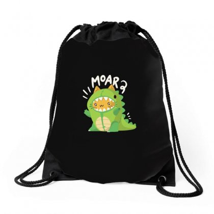 Cat In A Dinosaur Suit Drawstring Bags Designed By Arsyad