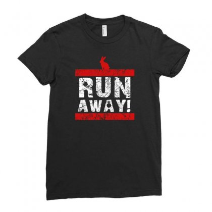 Run Away For Dark Ladies Fitted T-shirt Designed By Gurkan