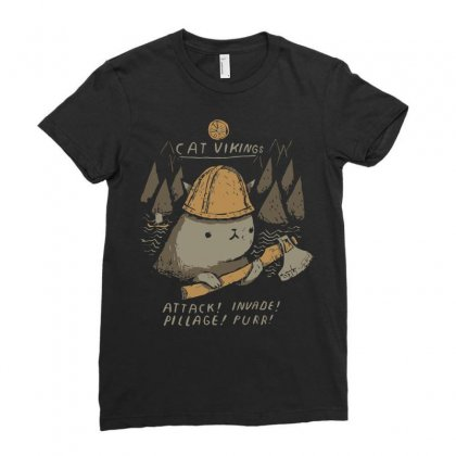 Cat Vikings Ladies Fitted T-shirt Designed By Arsyad