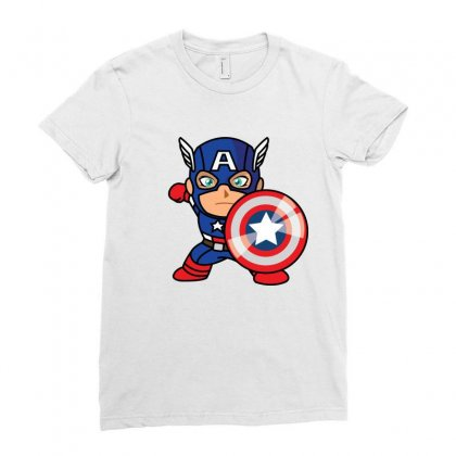 Cartoon Captain America Ladies Fitted T-shirt Designed By Jhanafi
