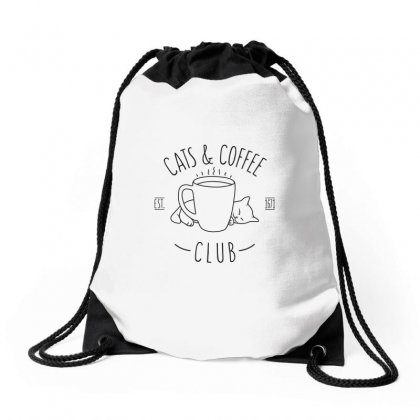 Cats And Coffee Club Drawstring Bags Designed By Arsyad