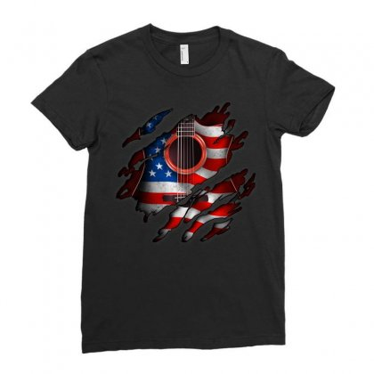 American Flag Inside Guitar Ladies Fitted T-shirt Designed By Omer Acar