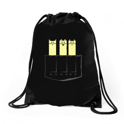 Cats In My Pocket Drawstring Bags Designed By Arsyad