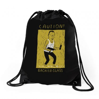 Caution Broken Glass Drawstring Bags Designed By Arsyad