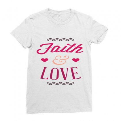 Faith And Love Ladies Fitted T-shirt Designed By Perfect Designers