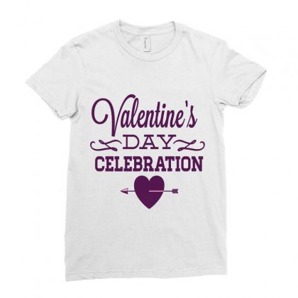 Happy Valentines Day Celebration Ladies Fitted T-shirt Designed By Perfect Designers