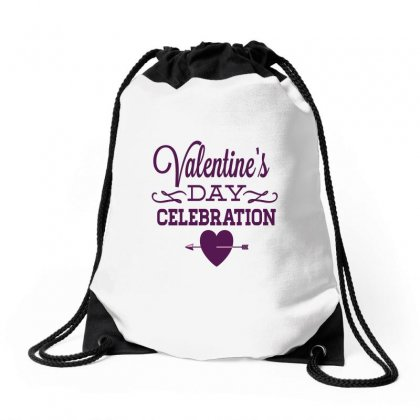 Happy Valentines Day Celebration Drawstring Bags Designed By Perfect Designers