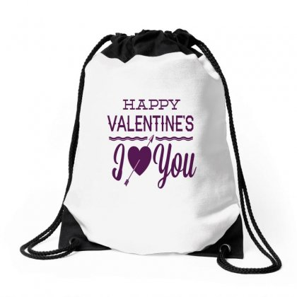 Happy Valentines Day I Love You Drawstring Bags Designed By Perfect Designers
