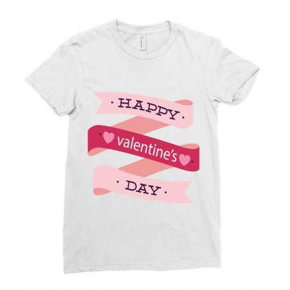 Happy Valentines Day Ladies Fitted T-shirt Designed By Perfect Designers