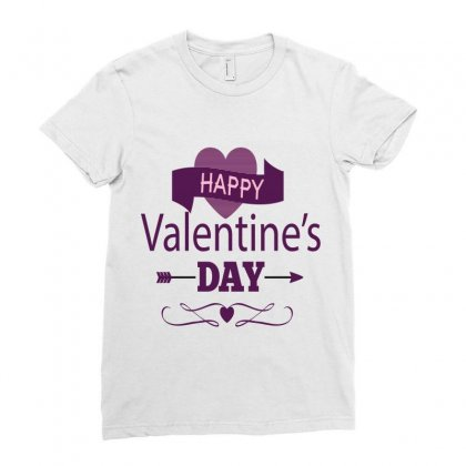 Happy Valentines Heart Ladies Fitted T-shirt Designed By Perfect Designers