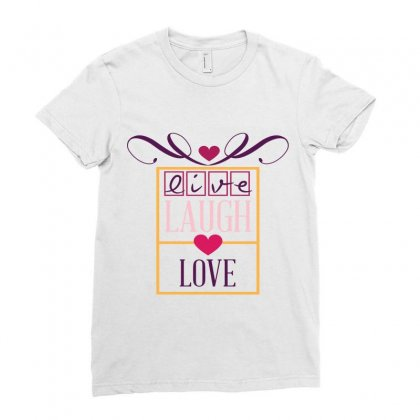 Live Laugh Love Heart Ladies Fitted T-shirt Designed By Perfect Designers