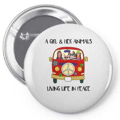 A Girl And Her Animals Living Life In Peace Pin-back Button Designed By Omer Acar