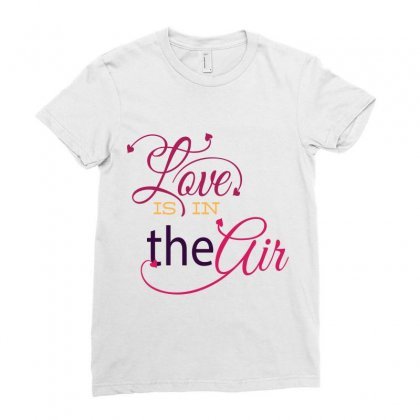 Love Is In The Air Ladies Fitted T-shirt Designed By Perfect Designers