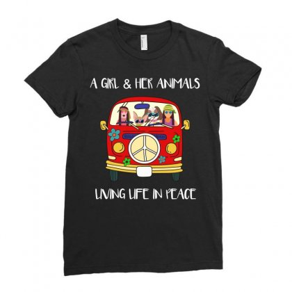 A Girl And Her Animals Living Life In Peace Ladies Fitted T-shirt Designed By Omer Acar