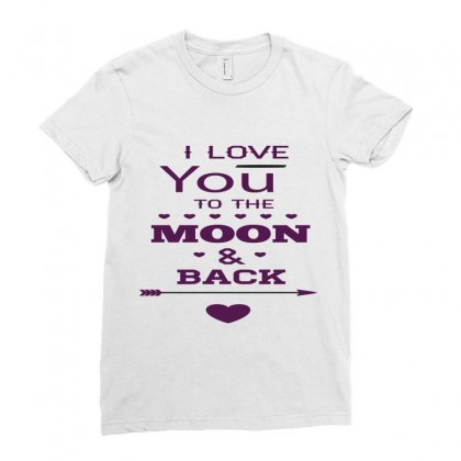 Love You To The Moon And Back Ladies Fitted T-shirt Designed By Perfect Designers