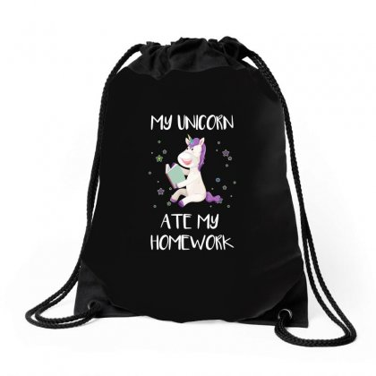 My Unicorn Ate My Homework For Drawstring Bags Designed By Omer Acar