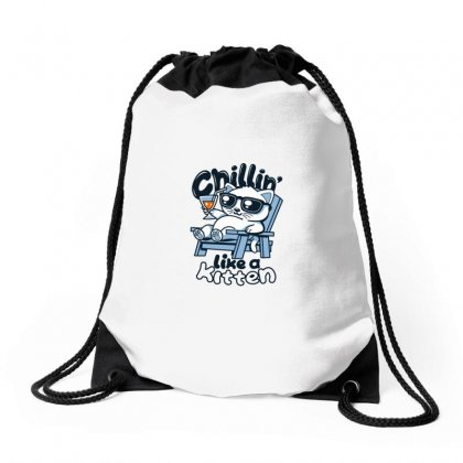Chillin' Like A Kitten Drawstring Bags Designed By Arsyad