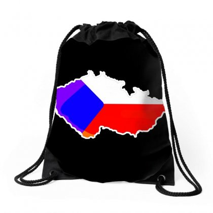 Czech Republic Map Drawstring Bags Designed By Lucky