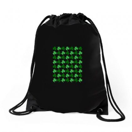 Clovers All Over Drawstring Bags Designed By Arsyad