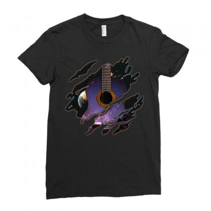 Space Guitar Inside Ladies Fitted T-shirt Designed By Omer Acar