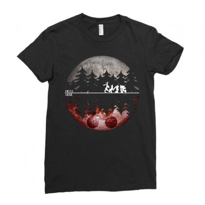 Mickey Mouse Night Walking Ladies Fitted T-shirt Designed By Omer Acar