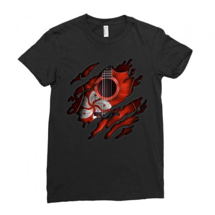 Hong Kong Flag Inside Guitar Ladies Fitted T-shirt Designed By Omer Acar