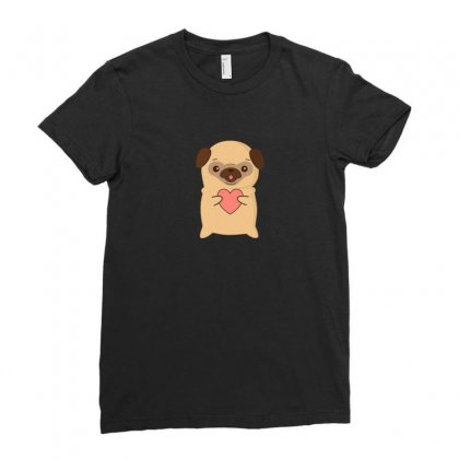 Cutie Pug With Heart Ladies Fitted T-shirt Designed By Arsyad
