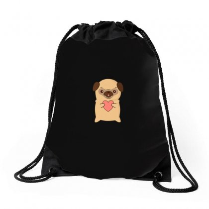 Cutie Pug With Heart Drawstring Bags Designed By Arsyad