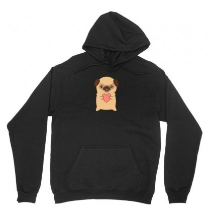 Cutie Pug With Heart Unisex Hoodie Designed By Arsyad