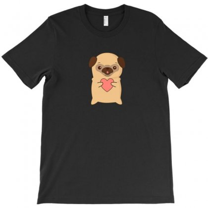 Cutie Pug With Heart T-shirt Designed By Arsyad