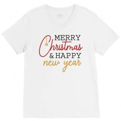 Merry Christmas & Happy New Year V-neck Tee Designed By Estore