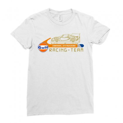 Gulf Racing Team Ladies Fitted T-shirt Designed By Animestars